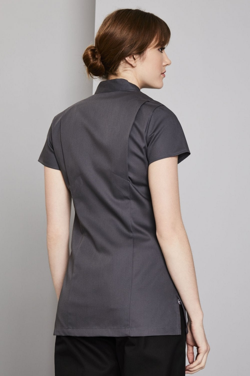 Definitive Feature Press Stud Tunic, Graphite Grey