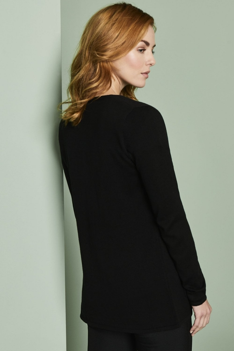 Ladies Semi Fitted V Neck Cardigan, Black