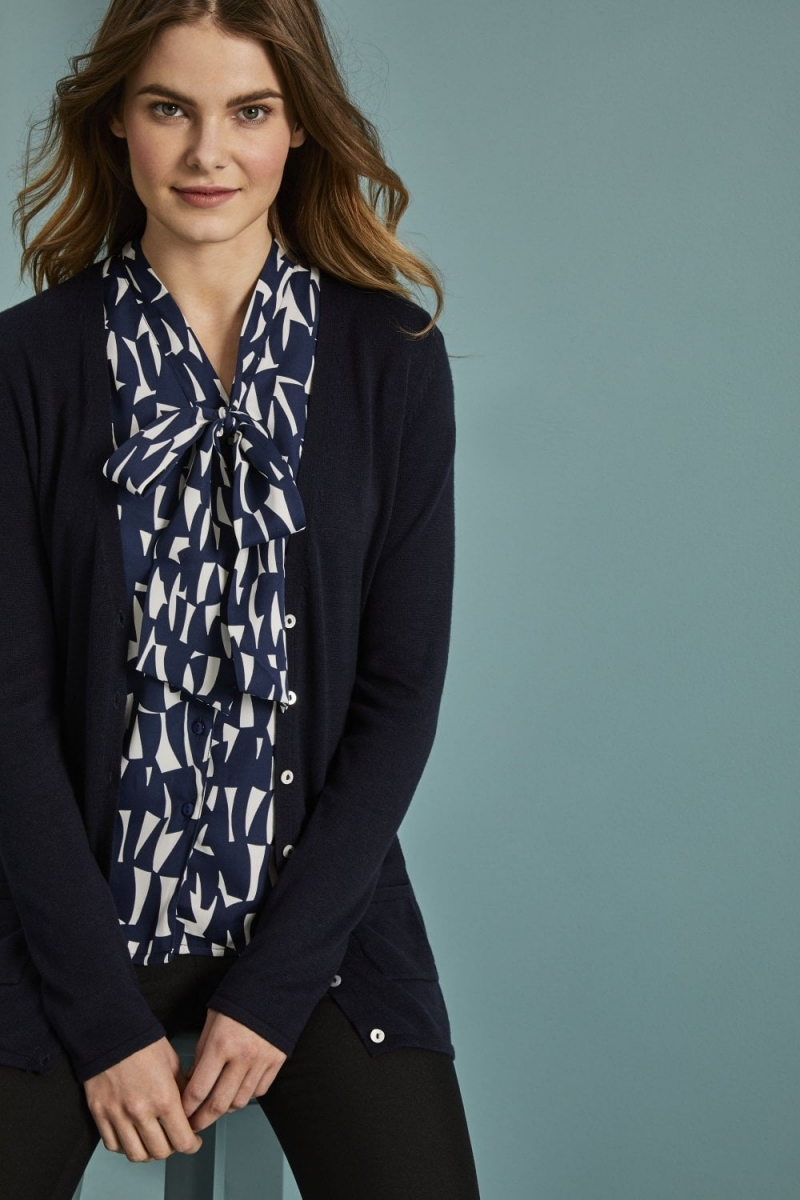 Ladies Semi Fitted V Neck Cardigan, Navy