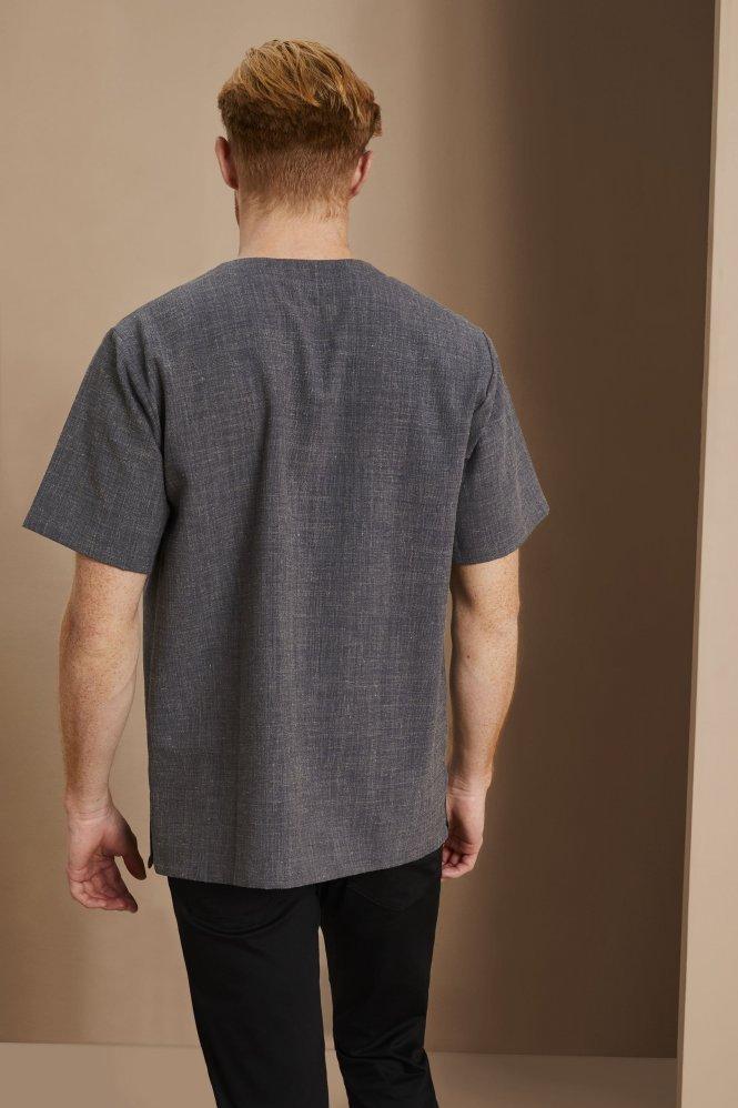 Linen Male Tunic, Charcoal
