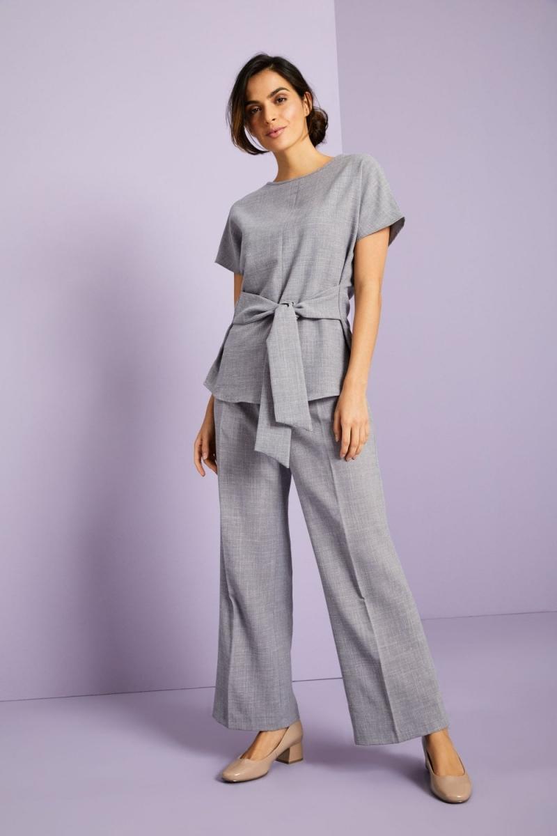 Linen Blend Tie Front Tunic, Grey