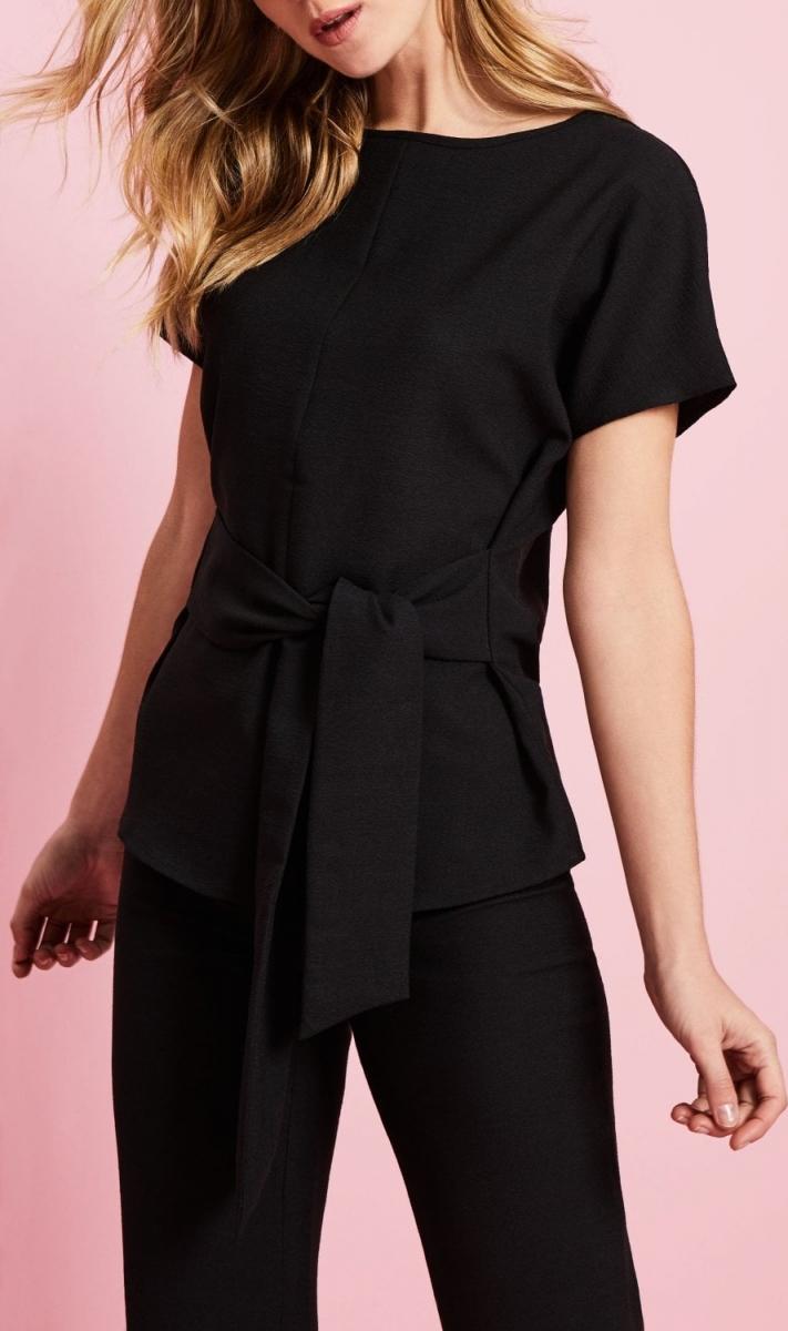Linen Blend Tie Front Tunic, Black