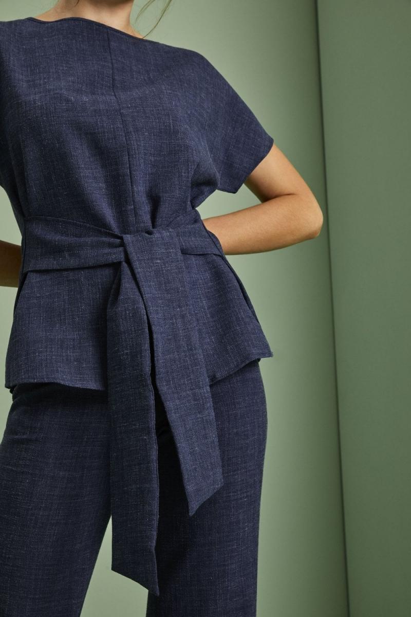 Linen Blend Tie Front Tunic, Navy