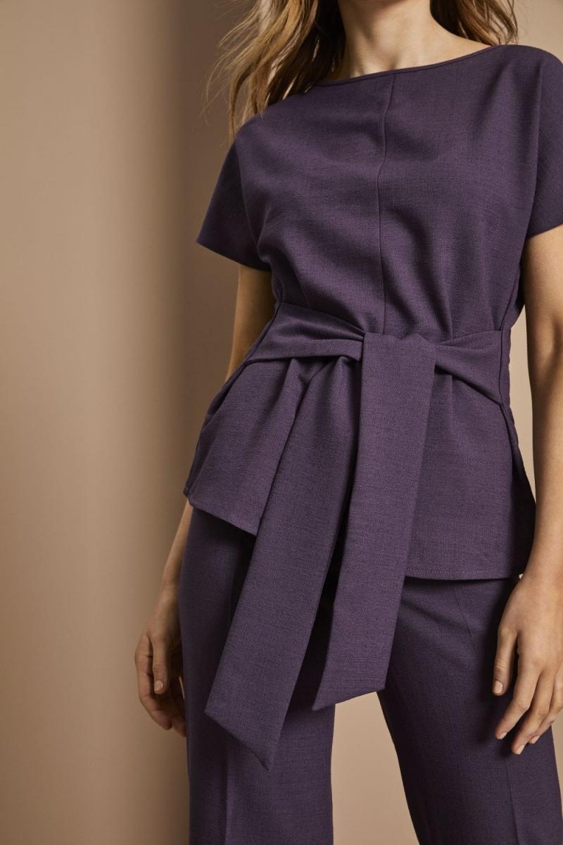 Linen Blend Tie Front Tunic, Plum