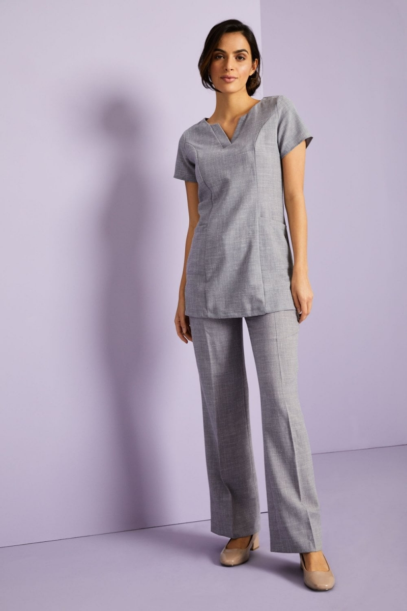 Linen Blend Straight Leg Pants, Grey
