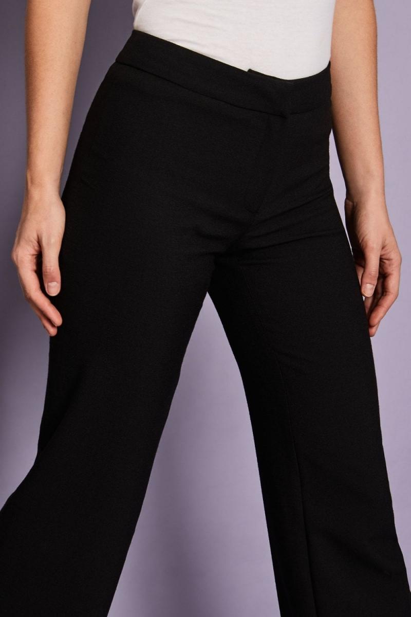 Linen Blend Straight Leg Pants, Black