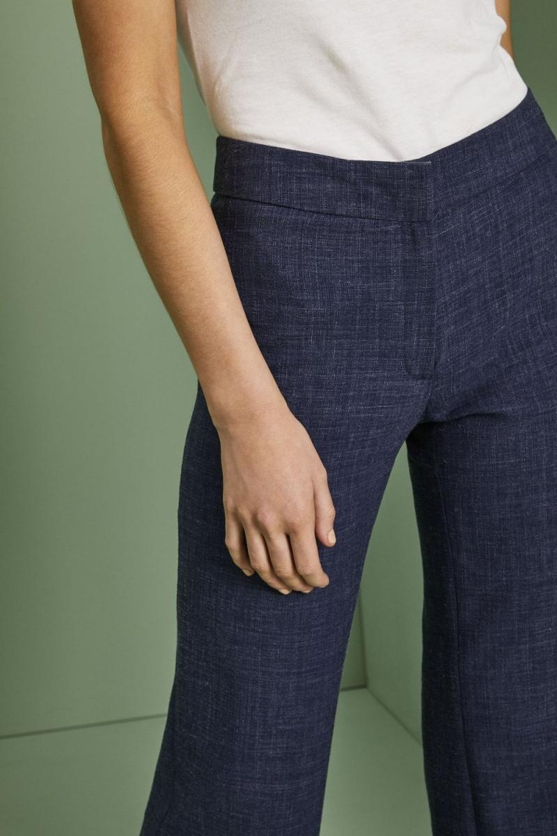 Linen Blend Straight Leg Pants, Navy