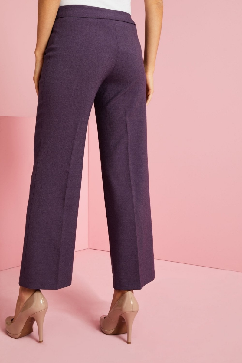 Linen Blend Straight Leg Pants, Plum