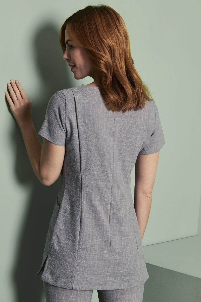 V-Neck Linen Blend Tunic, Grey