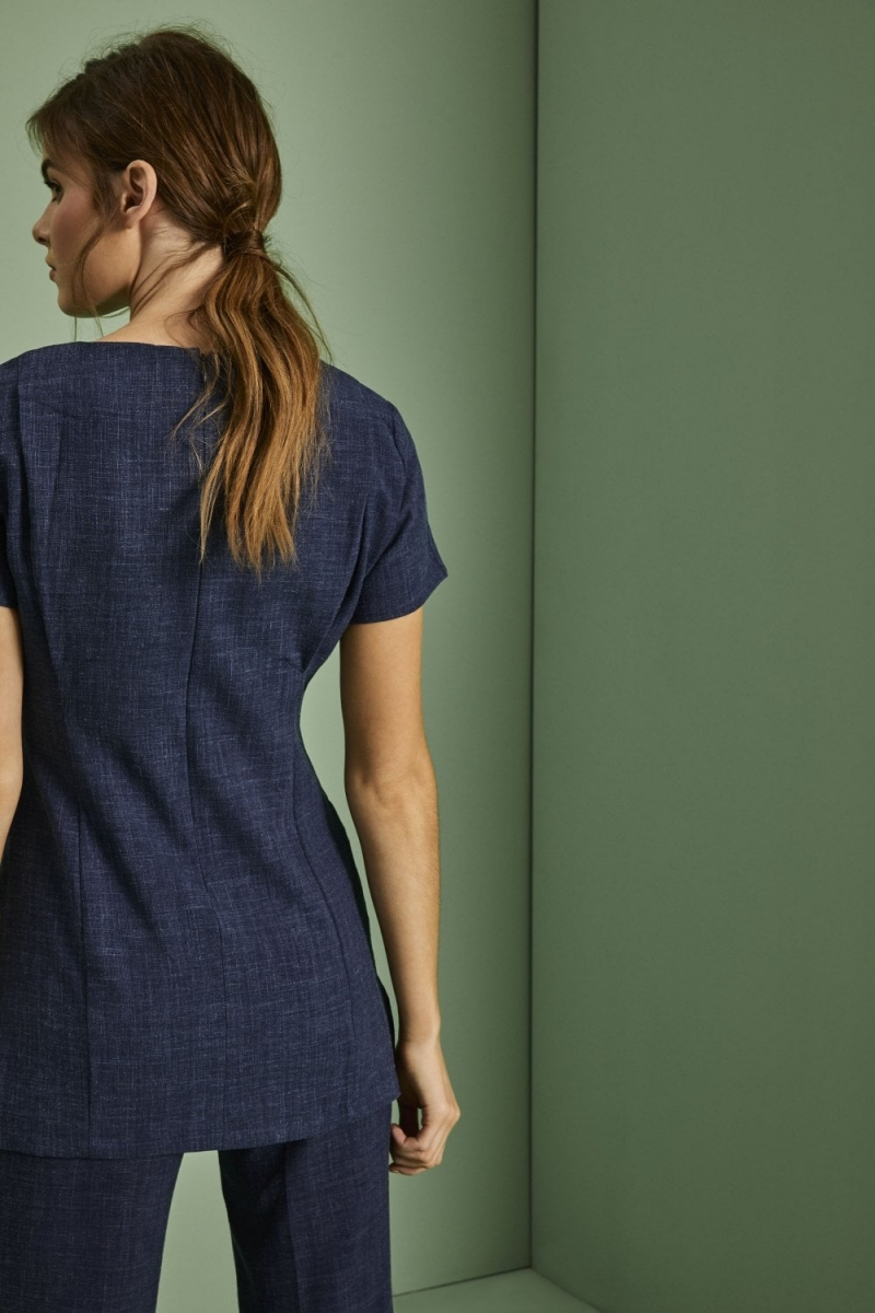 V-Neck Linen Blend Tunic, Blue