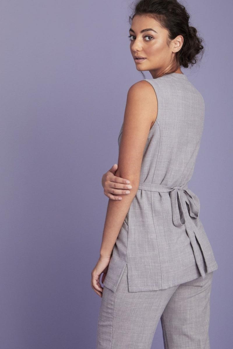 Linen Wrap Tunic, Grey