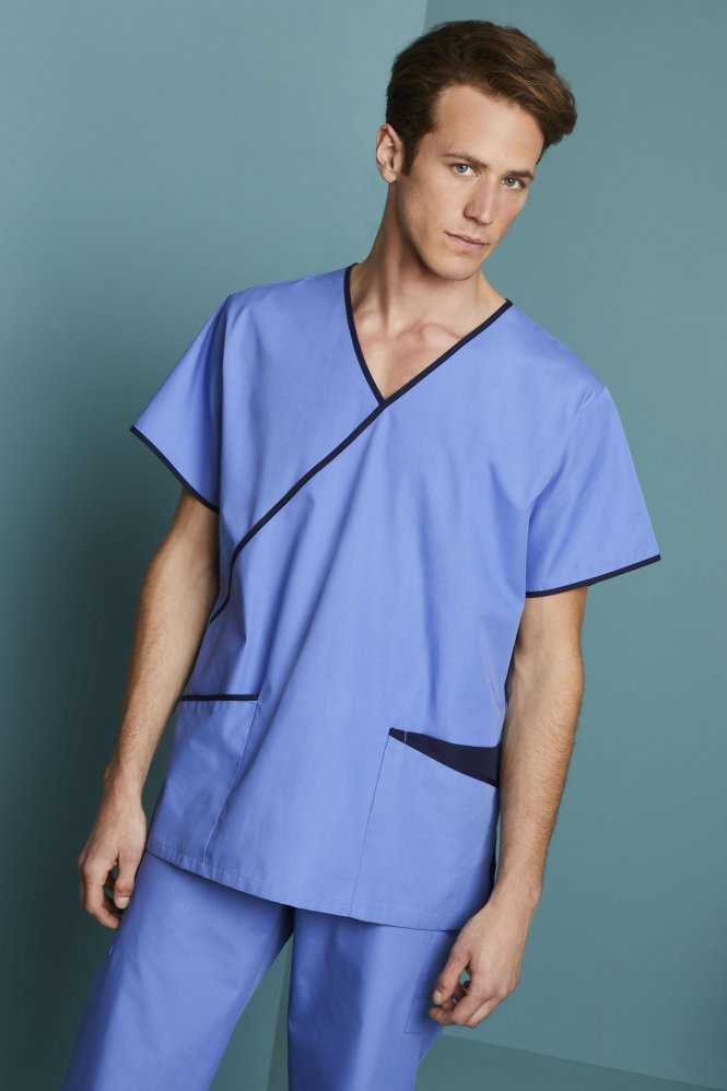 Men's Fitted Scrub Top, Metro Blue/Navy