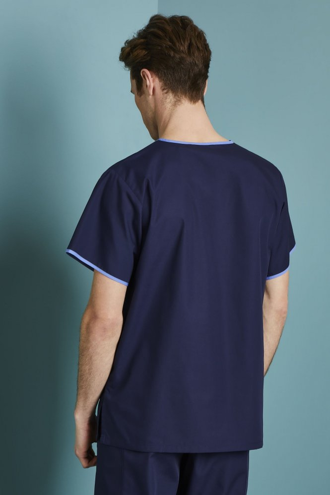 Men's Fitted Scrub Top, Navy/Hospital Blue