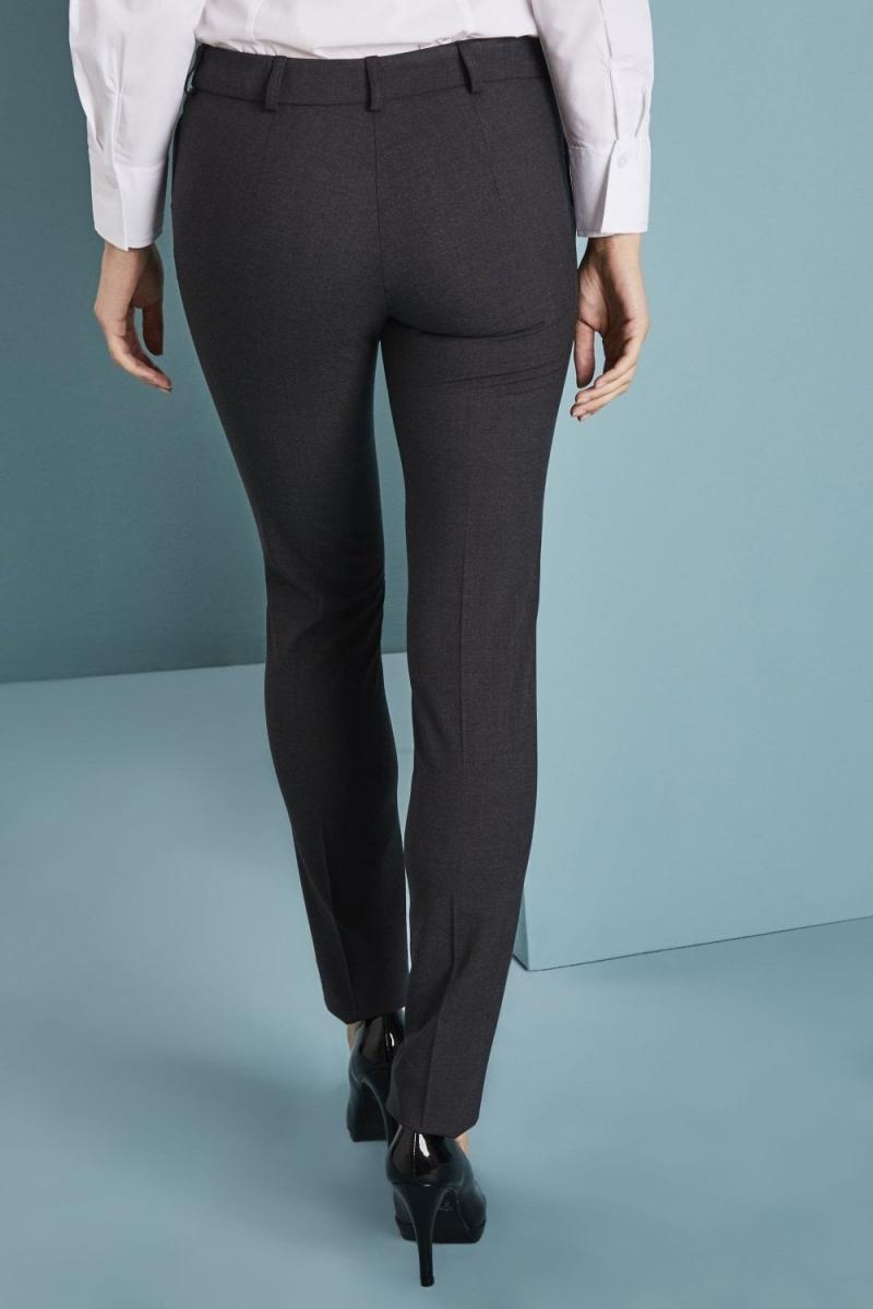 Qualitas Ladies Slim Leg Pants, Charcoal, Unhemmed