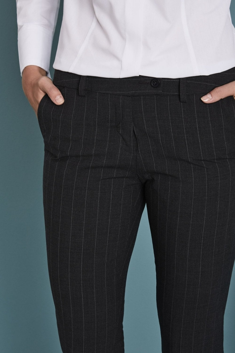 Qualitas Ladies Slim Leg Pants, Charcoal Chalkstripe, Unhemmed