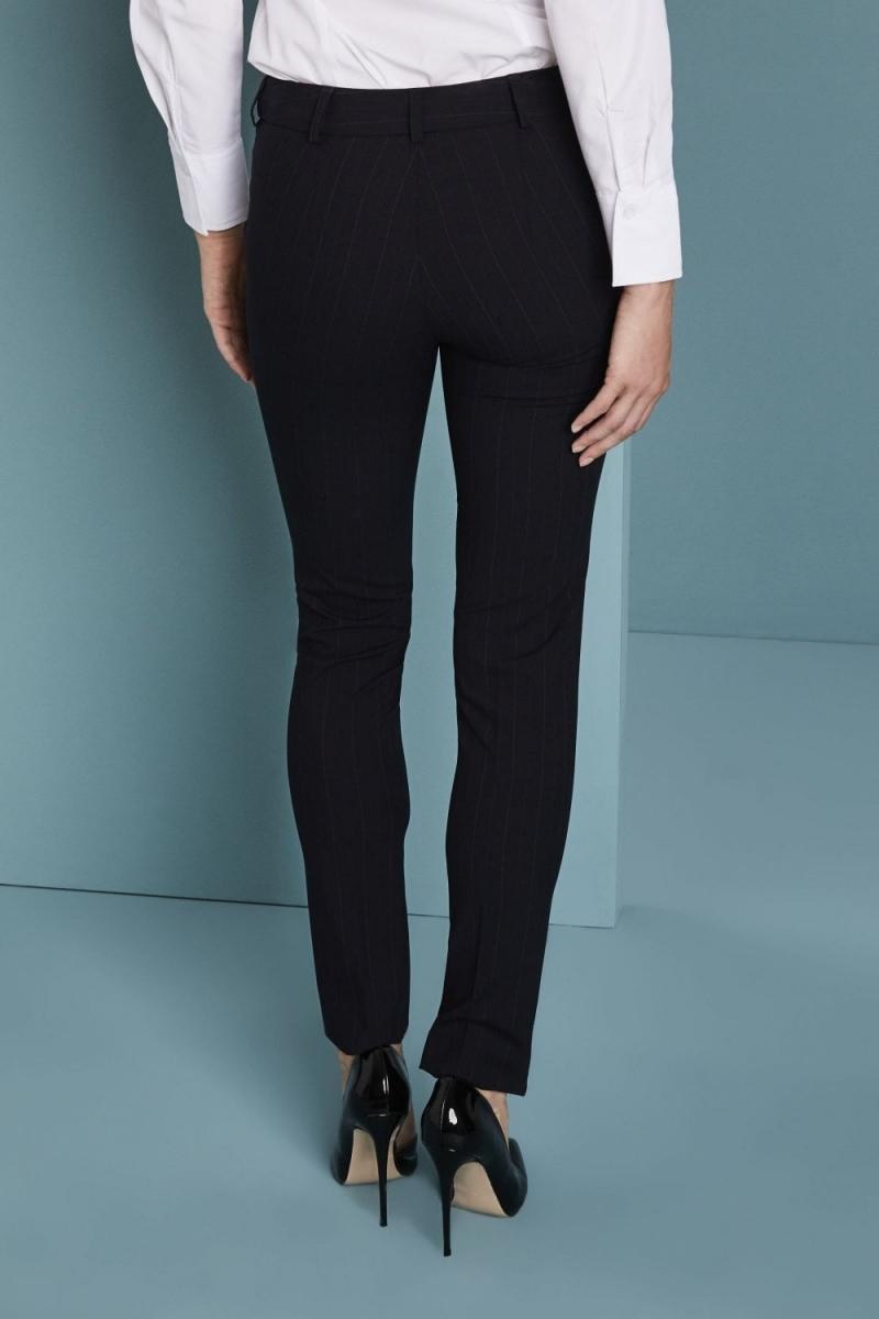 Qualitas Ladies Slim Leg Pants, Navy Duo Stripe, Unhemmed