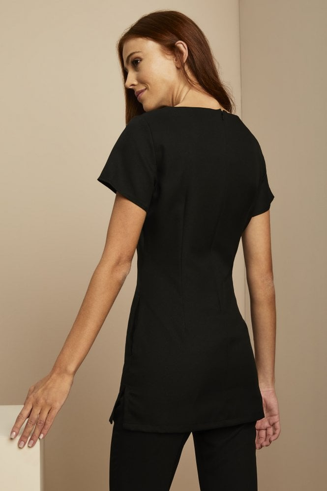 Shaped neck tunic black for Spa uniform canada