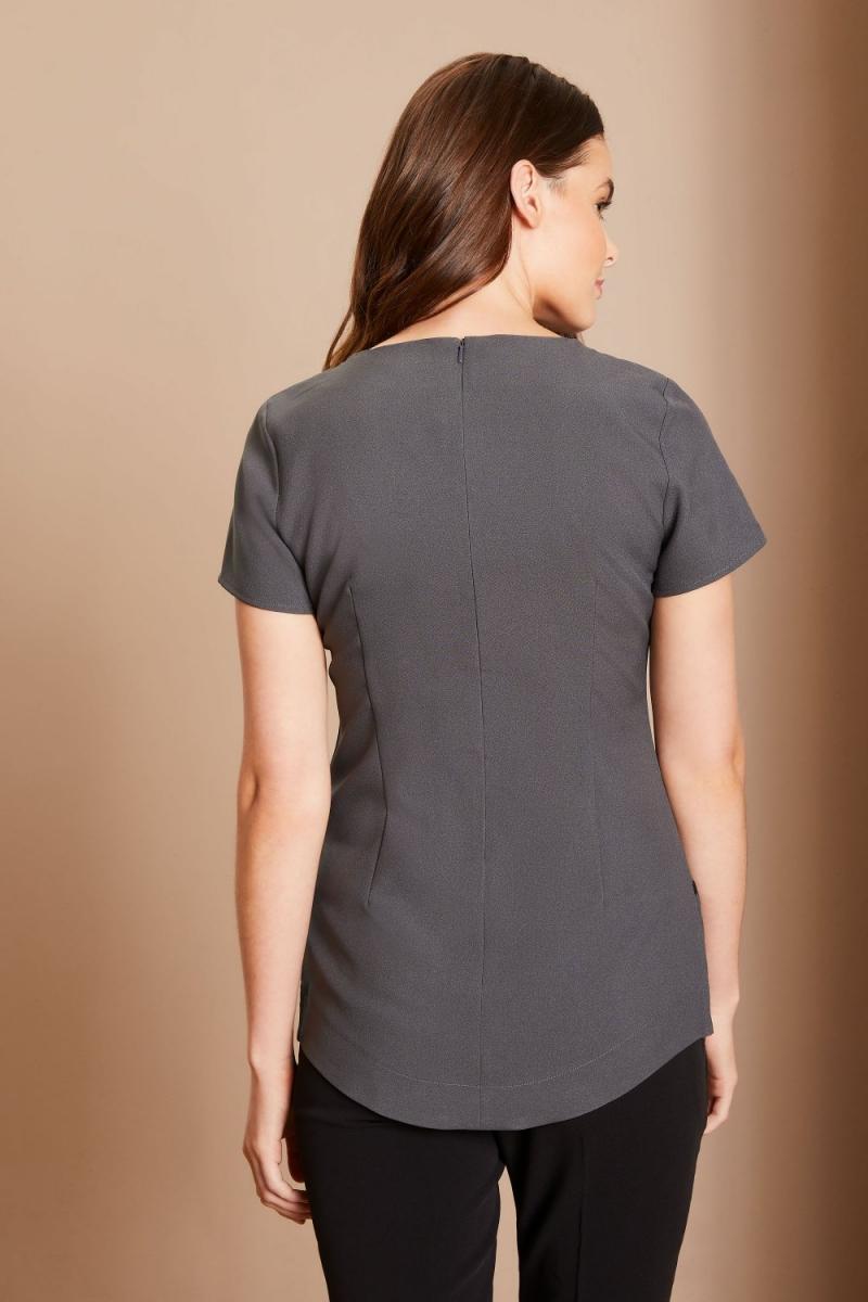 Curved Hem Contrast Tunic, Graphite/Black