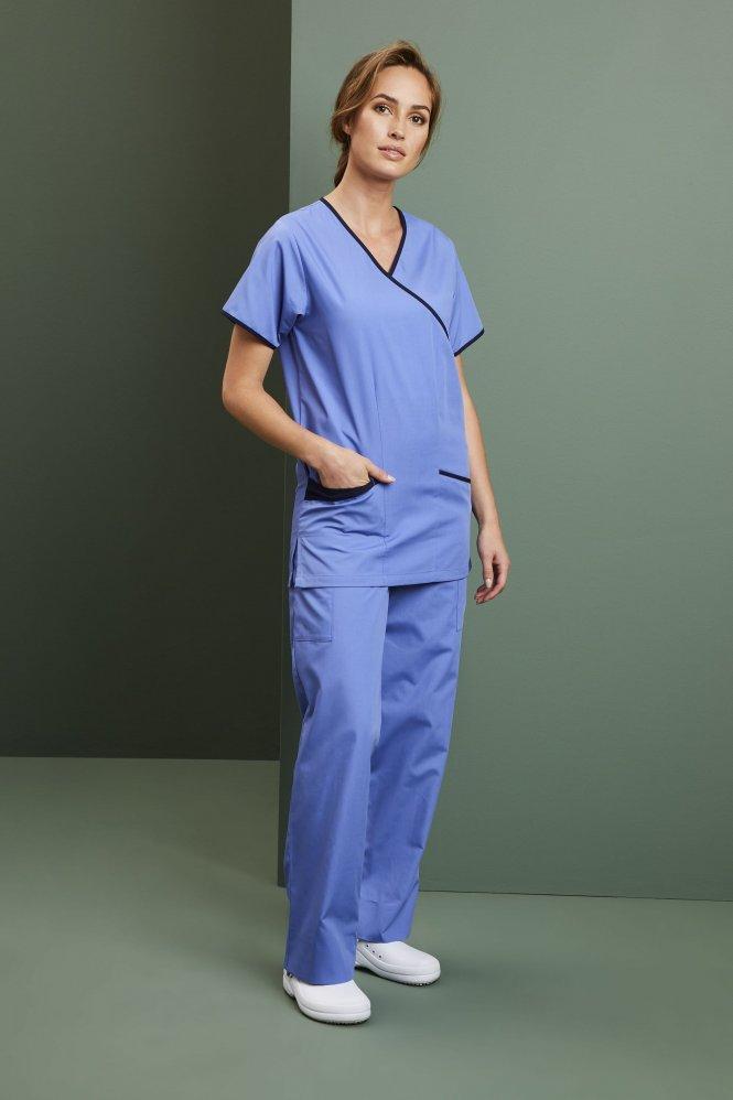 Ladies Fitted Scrub Top, Metro Blue/Navy
