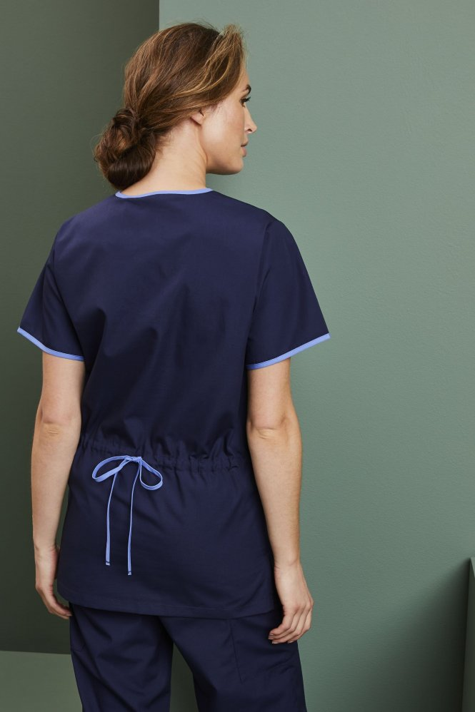 Ladies Fitted Scrub Top, Navy/Hospital Blue