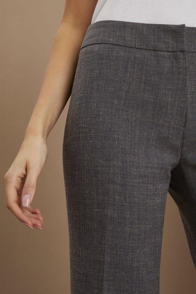 Linen Blend Straight Leg Pants, Charcoal