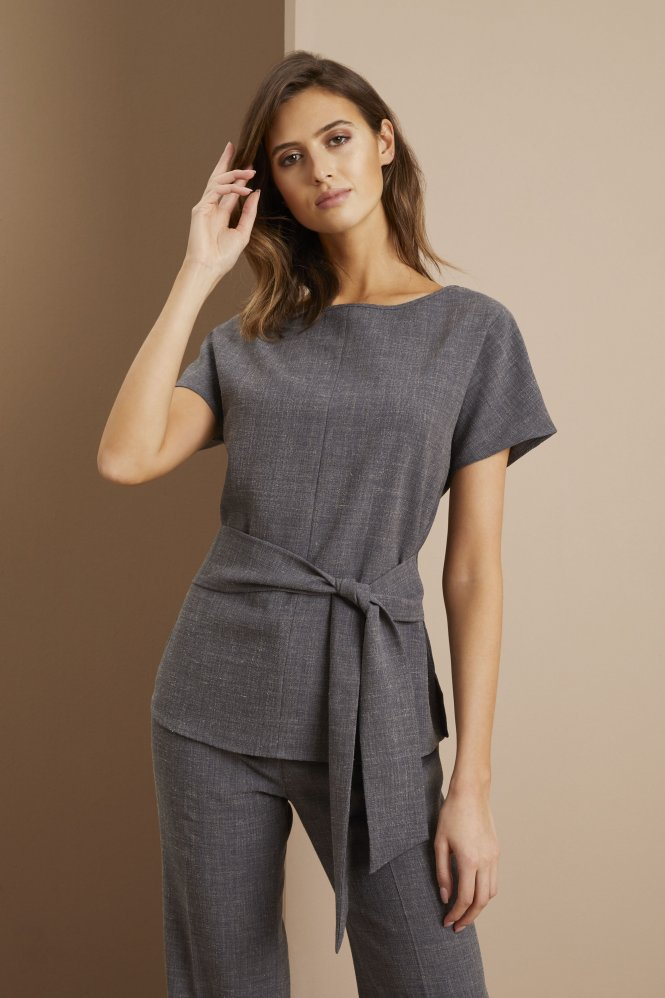 Linen Blend Tie Front Tunic, Charcoal