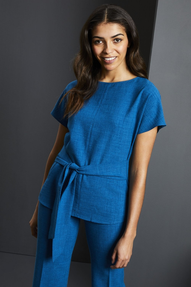 Linen Blend Tie Front Tunic, Teal