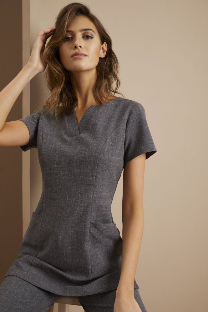V-Neck Linen Blend Tunic, Charcoal
