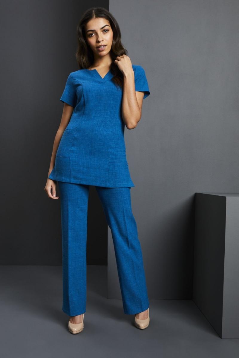V-Neck Linen Blend Tunic, Teal