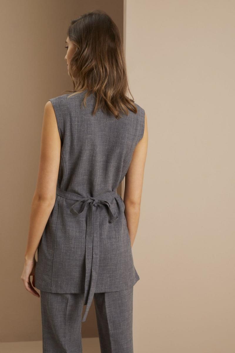 Linen Wrap Tunic, Charcoal
