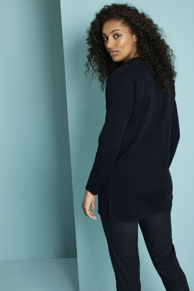 Cardigan Femme, option longue, Bleu marine2