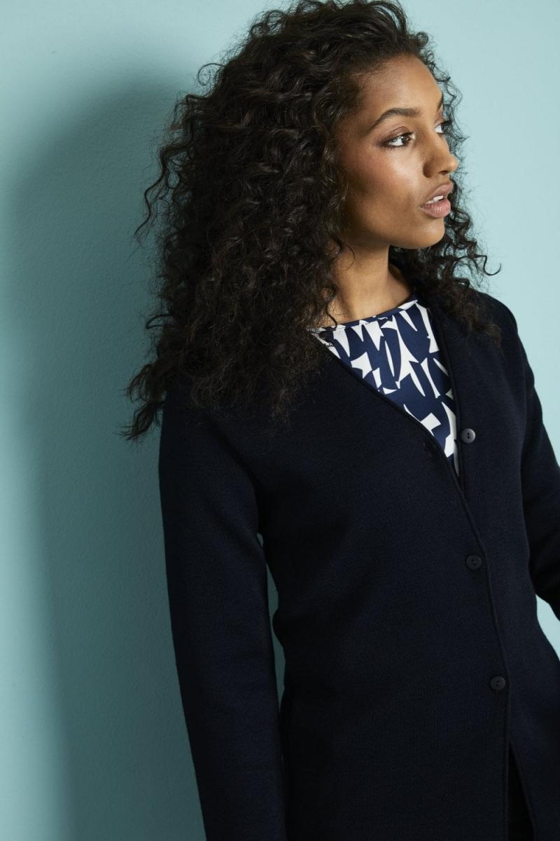 Cardigan Femme, option longue, Bleu marine3