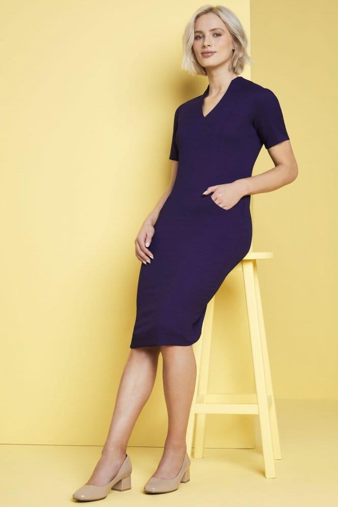 Notched Neckline Dress, Violet