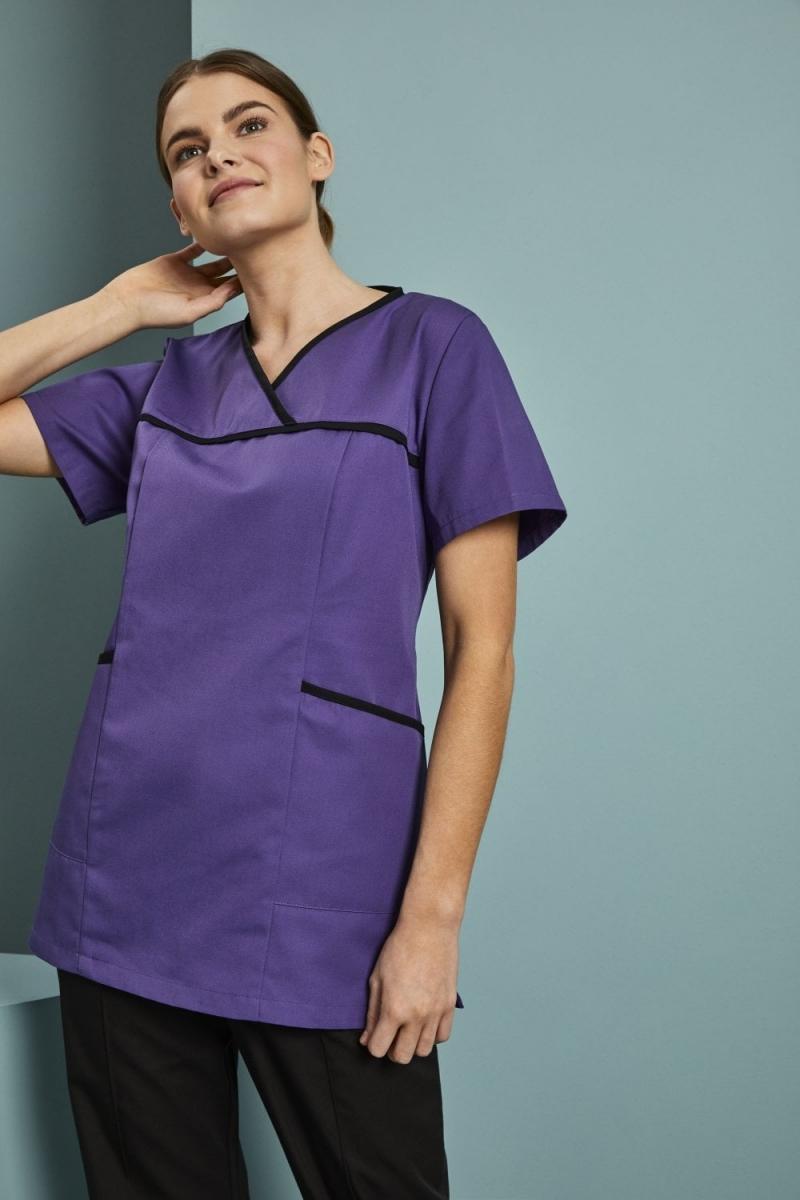 Definitive Ladies Pull On Tunic, Purple/Black