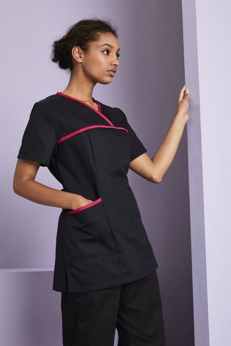 Definitive Ladies Pull On Tunic, Black/Hot Pink