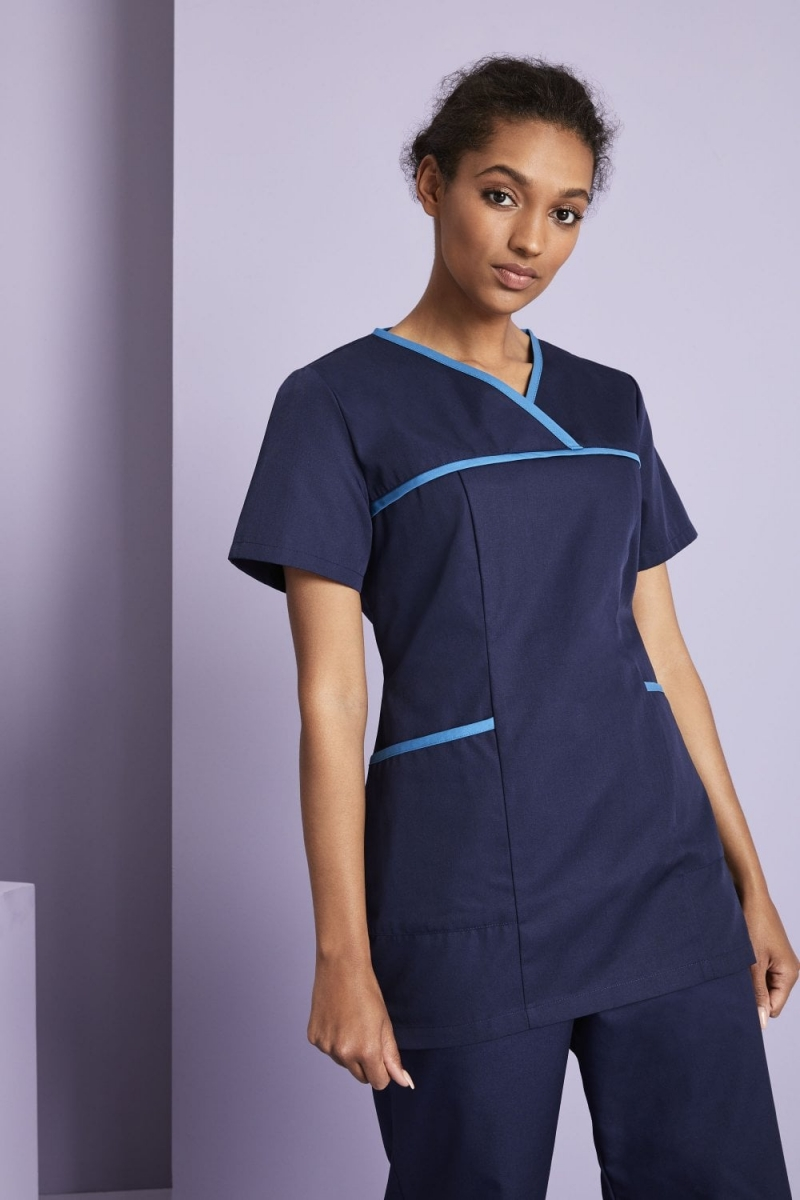 Definitive Ladies Pull On Tunic, Navy/Teal