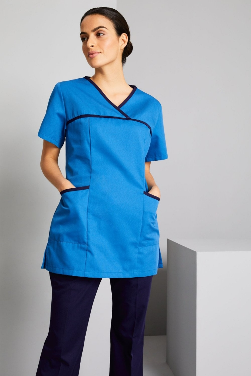 Definitive Ladies Pull On Tunic, Teal/Navy