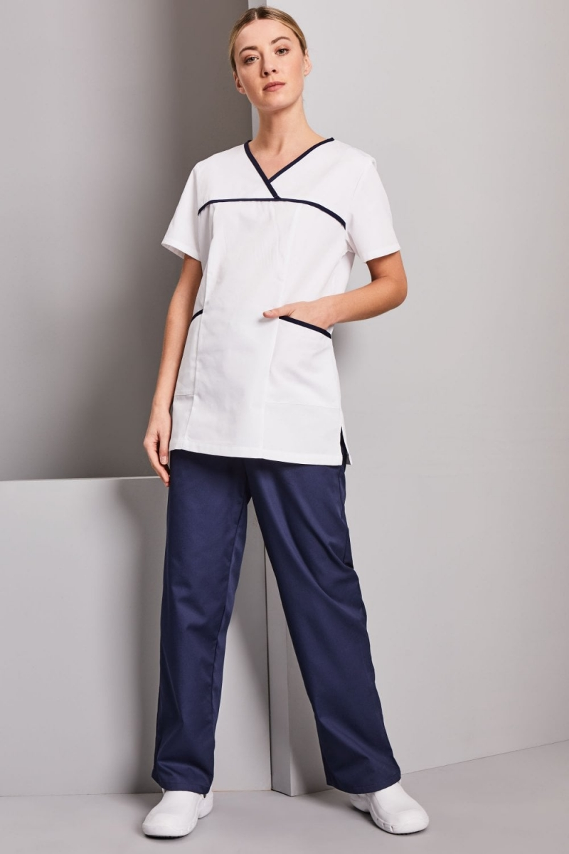 Definitive Ladies Pull On Tunic, White/Navy