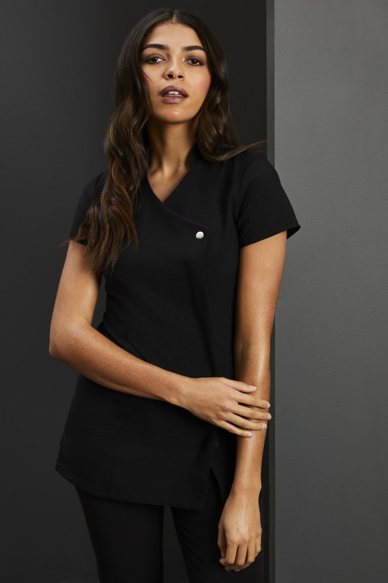 Side Pocket Piped Detail Tunic, Black