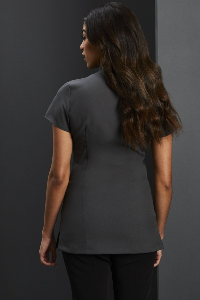 Side Pocket Piped Detail Tunic, Graphite