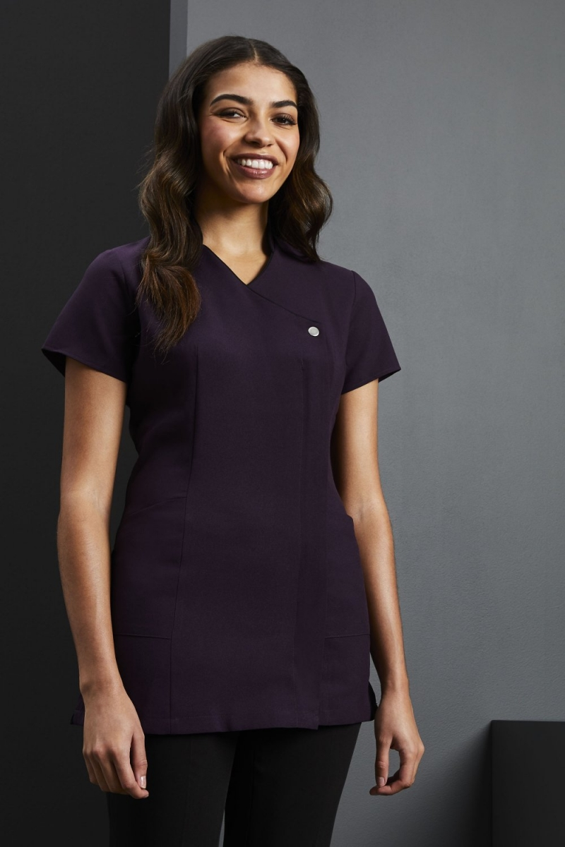 Side Pocket Piped Detail Tunic, Plum