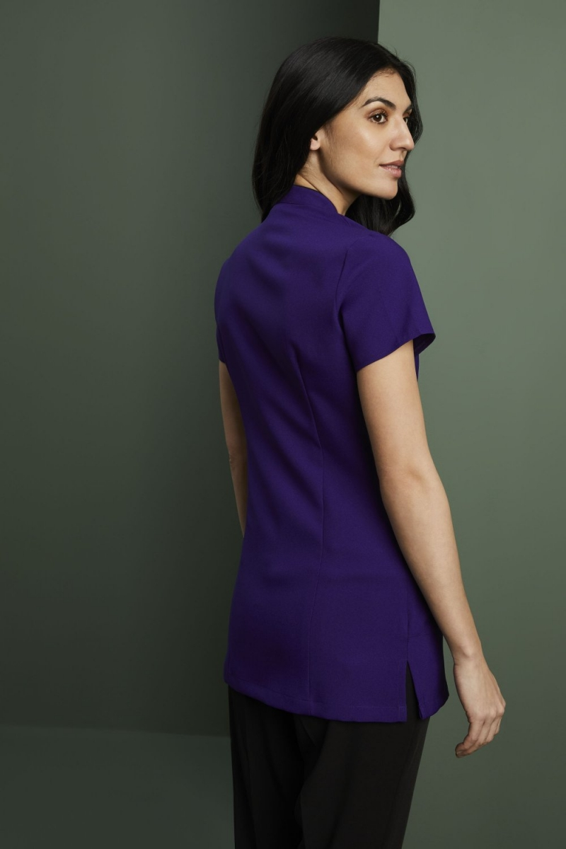 Side Pocket Piped Detail Tunic, Royal Purple