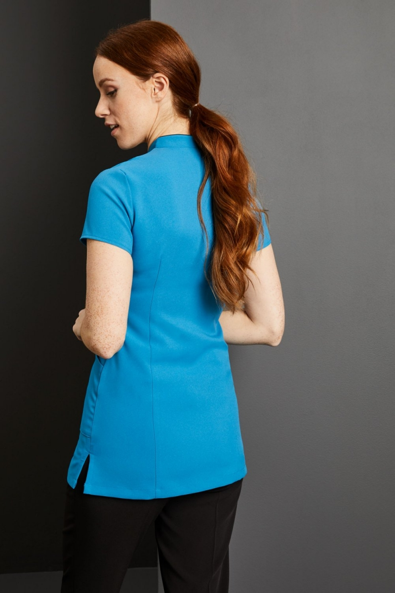 Side Pocket Piped Detail Tunic, Teal