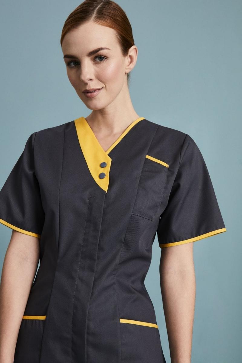 Ladies Tunic, Grey/Yellow