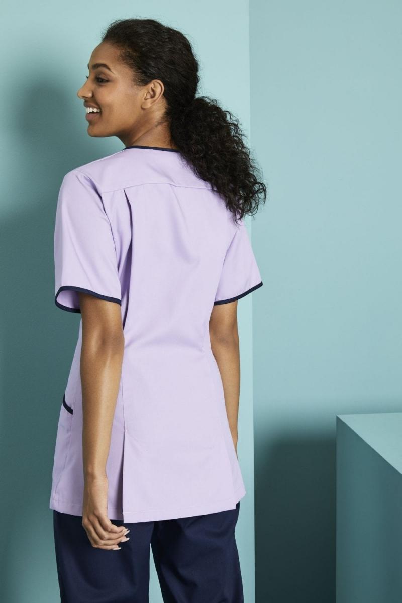 Ladies Zip Front Tunic, Lilac/Navy