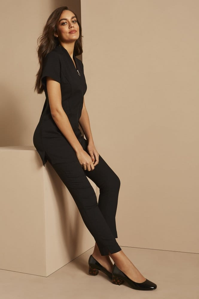 Zip Tunic with Pockets, Black
