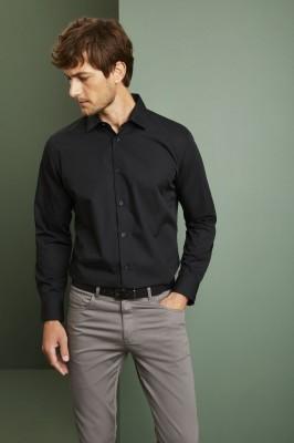 Long Sleeve Regular Fit Shirt, Black