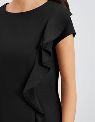 Select Side Ruffle Tunic, Black