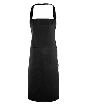 Cotton bib apron organic and Fairtrade certified Black