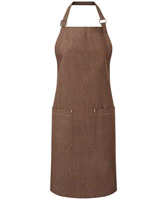 Cotton denim bib apron organic and Fairtrade certified Brown Denim